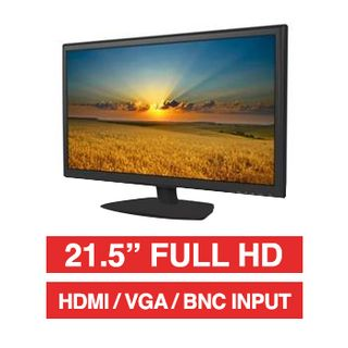 "HIKVISION, 21.5"" LED 16:9 Colour Monitor (Black), Full HD 1920x1080 resolution, 5ms response, 1000:1 contrast ratio, HDMI/VGA/BNC input, BNC loop output, Audio In/Out, 100x100 VESA mount"