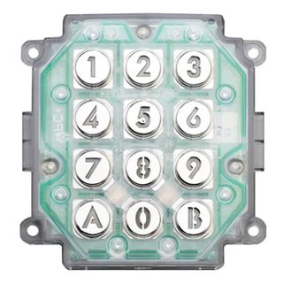 AIPHONE, Keypad only, Requires custom plate, vandal and weather resistant, stand alone, 100 users, relay output, backlit keys, IP54 rated, 12 - 24V AC/D,