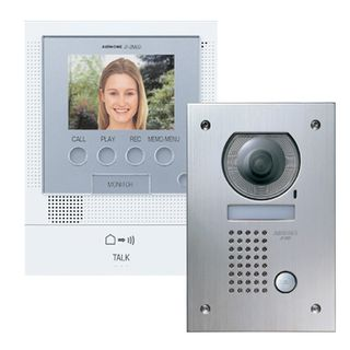 AIPHONE, JF Series, Video intercom kit, Colour, Hands free, With video memory, Includes 1 x JFDVF, 1 x JF2MED and 1 x Power Supply, Flush mount vandal resistant door station,
