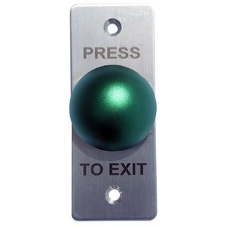 """ULTRA ACCESS, Switch plate, Wall, Architrave, Stainless steel, Labelled """"Press to Exit"""", With Green push button, Plate 35mm x 90mm, N/O,N/C contacts,"""
