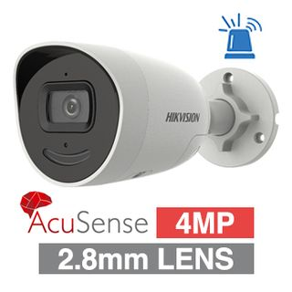 """HIKVISION, 4MP AcuSense G2 HD-IP Outdoor Bullet camera, DarkFighter, White, 2.8mm fixed lens, 40m IR, 120dB WDR, Day/Night (ICR), 1/2.7"""" CMOS, H.265 & H.265+, IP66, Microphone and Built-in spe"""