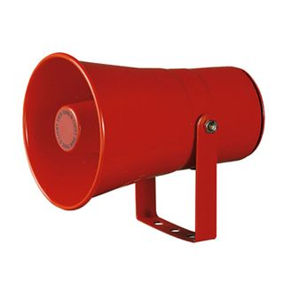 QLIGHT, Heavy Duty electric horn, 105dB max, 5 built-in alarm sounds, Steel housing, adjustable output, Red, IP55, 12V DC,