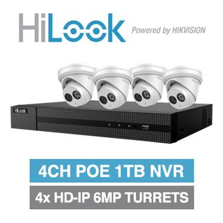 HILOOK, 4 channel HD-IP turret 6MP kit, Includes 1x NVR-104MH-C/4P-1T 4ch POE NVR w/ 1TB HDD & 4x IPC-T260H-M-2.8 6MP IP IR turret cameras w/ 2.8mm fixed lens