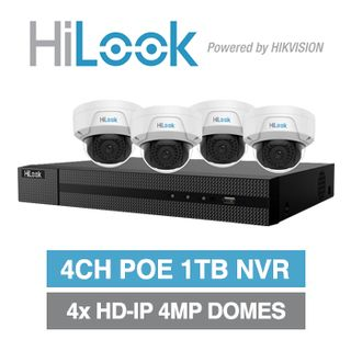 HILOOK, 4 channel HD-IP dome 4MP kit, Includes 1x NVR-104MH-C/4P-1T 4ch POE NVR w/ 1TB HDD & 4x IPC-D140H-M-2.8 4MP IP IR dome cameras w/ 2.8mm fixed lens