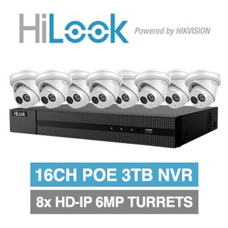 HILOOK, 16 channel HD-IP turret 6MP kit, Includes 1x NVR-216MH-C/16P-3T 16ch POE NVR w/ 3TB HDD & 8x IPC-T260H-M-2.8 6MP IP IR turret cameras w/ 2.8mm fixed lens