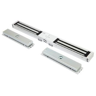 LOX, Electromagnetic lock, Double door, Surface mount, Monitored, 280kg (x2) holding force, 4 hour fire rated, Medium size, 477(L) x 48(H) x 25(D)mm, 12VDC/24VDC, 500/250mA (x2),