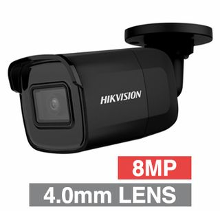 """HIKVISION, 8MP HD-IP Outdoor Mini Bullet camera, Black, 4.0mm fixed lens, 30m IR, WDR, Day/Night (ICR), 1/2.5"""" CMOS, H.265/H.265+, IP67, 12V DC/PoE"""