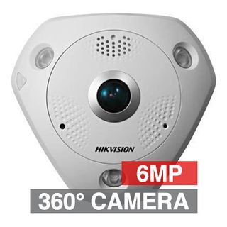 "HIKVISION, 6MP HD-IP Outdoor Fisheye 360 camera, White, 1.27mm MP lens, 15m IR, Digital WDR, Day/Night (ICR), 1/1.8"" CMOS, Analytics/Heat map (SD required), H.264, IP66, IK10, 12V DC/PoE"