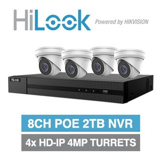 HILOOK, 8 channel 2 Bay HD-IP turret 4MP kit, Includes 1x NVR-208MH-C/8P-2T 8ch POE NVR w/ 2TB HDD & 4x IPC-T240H-M-2.8 4MP IP IR turret cameras w/ 2.8mm fixed lens