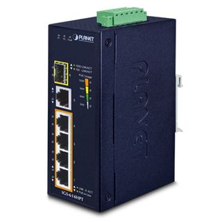 PLANET, 4 Port 10/100/1000 Mbits POE industrial switch, 4 Ports 10/100/1000 Mbits, 1 Gbit uplink ports, 1x 100/1000X Gbit, 15.4 Watt IEEE 802.3af, 220W output max, 12-56V DC,