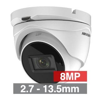 HIKVISION, 8MP Turbo HD Ultra low light Outdoor Turret camera, White, 2.7-13.5mm motorised zoom lens, 60m IR, TVI/CVBS, 130dB WDR, Day/Night (ICR), IP67, Tri-axis, 12V DC,