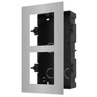 HIKVISION, Intercom, Gen 2, 2 Module, Flush mount Stainless frame, fits 2 modules, Plastic backbox, with accessories, box 237x134x56mm,