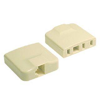 TELEMASTER, Telephone socket adaptor, Modular, Adapts 6P4C modular plugs to 610 telephone sockets, RJ12 or RJ45 to 610, Ivory,