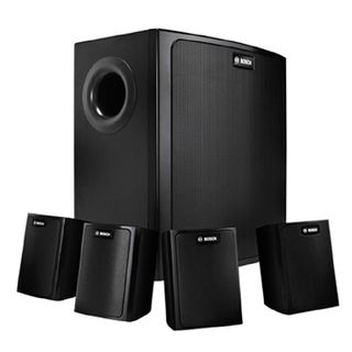 """BOSCH, Compact Sound Package, Wall mount, Black, 30W, 2"""" (50mm), Surface Satellite speakers, 100W, 8"""" (200mm) Surface Subwoofer 100V line (Taps at 12.5, 25, 50, 100W),"""