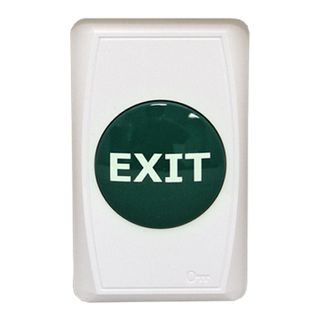 "ULTRA ACCESS, Switch plate, Wall, Labelled ""Exit"", White ABS Plastic, Large Green raised push button, N/O and N/C contacts, Double pole,"