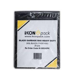 IKON 240LT 1140X1450 BLACK GRB BIN BAG