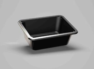 CPET TRAY BLACK OPEN 221x169x76MM [210]