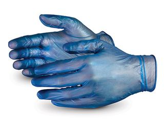 GLOVES VINYL SMALL BLUE POWDERED 100