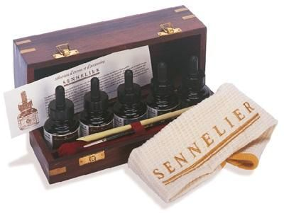 Sennelier Wooden Box Ink Set