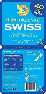 CHEESE SLICES SWISS (40) 800GM ECLIPSE