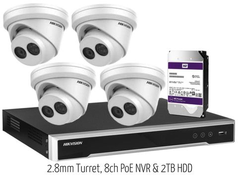Hikvision 8 Channel NVR with 8 PoE Ports with 4 x 6MP Turrets
