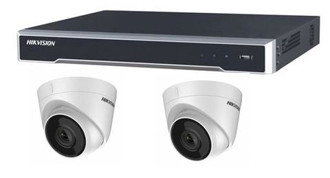 Hikvision 8 Ch Q Series NVR with 8 PoE, 2TB HD & x2 5MP Turret cameras