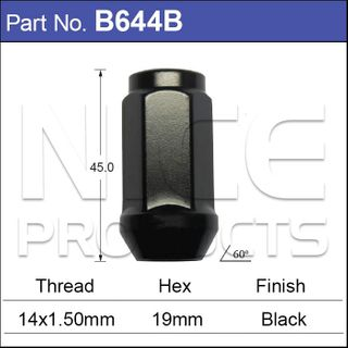 Black Nut 44mm Long 19mm Hex