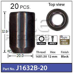 20  x Black Allen Key Nuts + Key   16mm x 1.5mm