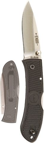 KA-BAR MINI DOZIER FOLDER-BLACK-BLACK CLIP, STR