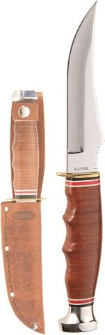 KA-BAR SKINNER-STACKED LEATHER HANDLE, LEATHER SHTH