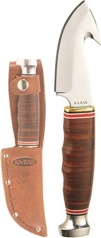 KA-BAR GAME HOOK-STACKED LEATHER HANDLE, LEATHER SHTH