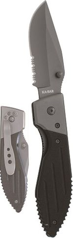 KA-BAR WARTHOG FOLDER III, GRAY CLIP, SERR EDGE