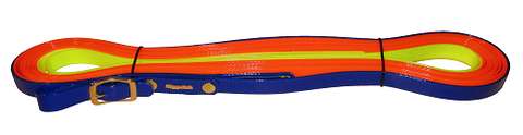 NIGGELOH BIOTHANE TRACKING LEAD TRACK, ORANGE-YELLOW-BLUE, 19 MM, 12 M