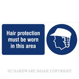 DENEEFE BA7 HAIR PROTECTION MUST BE WORN IN THIS AREA PVC