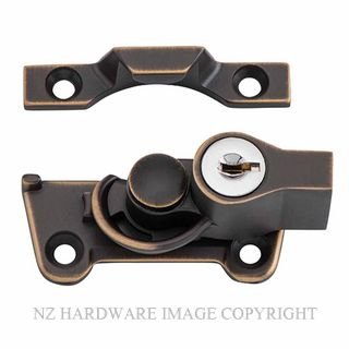 TRADCO 20311 SASH FASTENER LOCKING WIDE BASE ANTIQUE BRASS