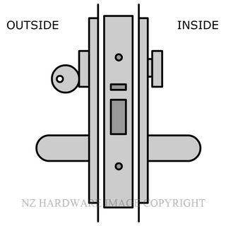 LEGGE ALUMINIUM DOOR EXIT LOCK KEY & TURN 38MM LOCK & HANDLE KITSE