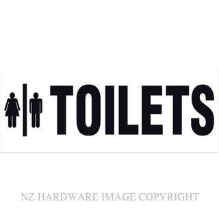 MARKIT GRAPHICS BS722 TOILETS SIGN 330X130MM BLACK ON WHITE