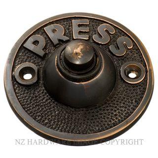 TRADCO 5513 BELL PUSH PRESS 63MM ANTIQUE COPPER