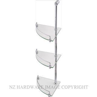 HEIRLOOM UNIVERSAL UGSCT CRN GLASS SHELF 3 TIER POLISHED STAINLESS