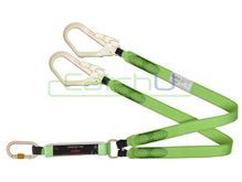 CatchU Energy Absorbing Twin Tail Lanyard - 2.0m Long with One Double Action Snap Hook and Two Double Action Scaffold Hooks