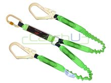 CatchU Energy Absorbing Twin Elasticised Tail Lanyard - 2.0m Long with One Double Action Snap Hook and Two Double Action Scaffold Hooks
