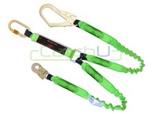 CatchU Energy Absorbing Lanyard with Elasticised Tails - 2.0m Long with Double Action Hook and Double Action Scaffold Hook