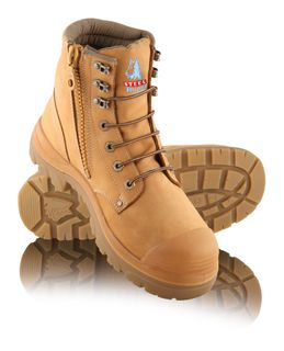 BOOT SAFETY ARGYLE ZIP BUMP WHEAT 10