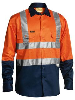 BISLEY BS6267T ORANGE/NAVY TAPED HI-VIS SHIRT