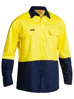 BISLEY BS6267 YELLOW/NAVY HI-VIS COTTON SHIRT