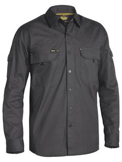 BISLEY BS6414 RIPSTOP CHARCOAL LONG SLEEVE SHIRT