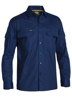 BISLEY BS6414 RIPSTOP NAVY LONG SLEEVE SHIRT