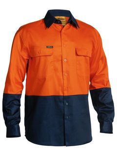 BISLEY BS6267 ORANGE/NAVY HI-VIS COTTON SHIRT