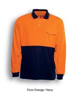 BOCINI SP0426 LONG SLEEVE POLO ORG/NVY
