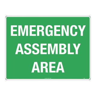 SIGN EMERGENCY ASSY AREA 600x450 METAL